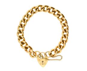 9ct Gold Heart Lock Curb Bracelet