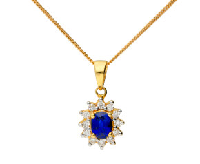 18ct Yellow Gold 0.48ct Sapphire & 0.15ct Diamond Cluster Pendant