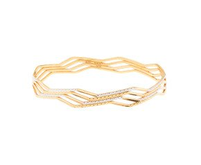Pre-Owned Yellow & White Gold Wave Bangle