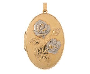 Pre-owned 9ct Yellow & White Gold Fancy Locket