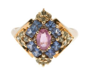 Pre-owned 9ct Yellow Gold Gem-Set Dress Ring
