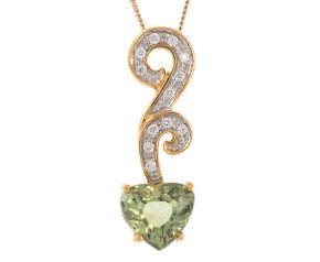 18ct Yellow Gold 2ct Peridot & Diamond Fancy Pendant
