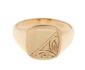 Pre-owned Men's 9ct Yellow Gold Signet Ring