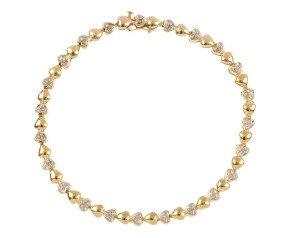 Pre-owned 9ct Yellow Gold Diamond Heart Bracelet