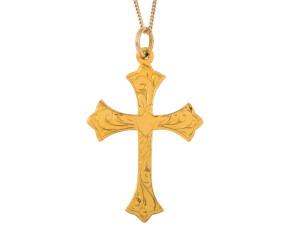 Vintage 9ct Yellow Gold Cross Pendant