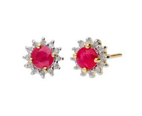 9ct Yellow Gold 0.40ct Ruby & Diamond Cluster Earrings