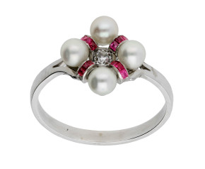 Vintage 0.10ct Diamond, Cultured Pearl & Ruby Ring