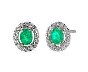 9ct White Gold Emerald & Diamond Cluster Earrings