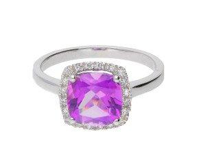 9ct White Gold Amethyst & Diamond Halo Ring
