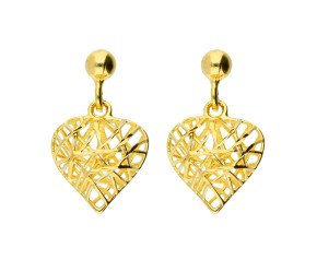 9ct Yellow Gold Heart Drop Earrings