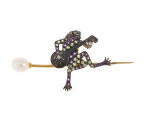 Amethyst Peridot & Cultured Pearl Frog Brooch