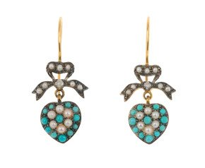 Edwardian Inspired turquoise & Split Pearl Fancy Drop Earrings