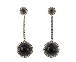 0.35ct Diamond & Onyx Drop Earrings
