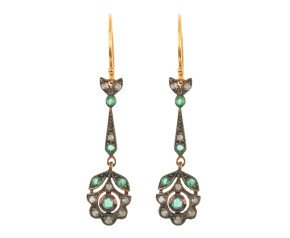 Emerald & Diamond Fancy Drop Earrings