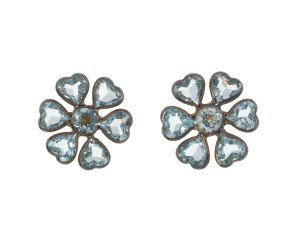 Topaz & Diamond Floral Cluster Earrings