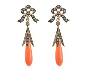 Victorian Inspired Coral & 0.25ct Diamond Drop Earrings