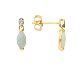 9ct Yellow Gold Navette Cut Opal & Diamond Drop Earrings