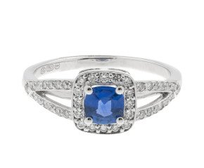 18ct White Gold 0.46ct Ceylon Sapphire & 0.25ct Diamond Dress Ring