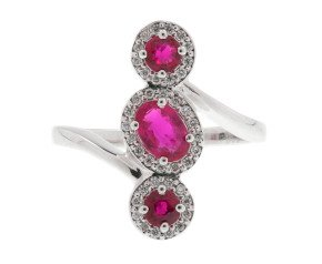 18ct White Gold 0.46ct Ruby & 0.36ct Diamond Cocktail Ring