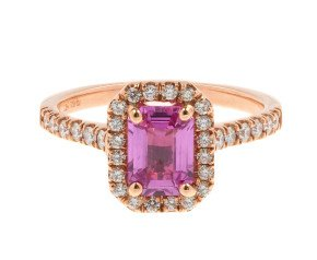 18ct Rose Gold 1.15ct Pink Sapphire & 0.33ct Diamond Halo Ring