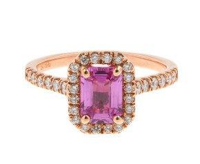 18ct Rose Gold 1.15ct Pink Sapphire & 0.33ct Diamond Halo Ring