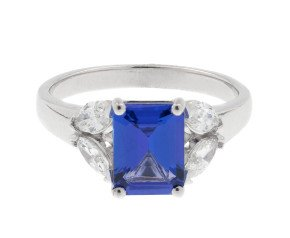 18ct White Gold 1.62ct Tanzanite & 0.50ct Diamond Cocktail Ring