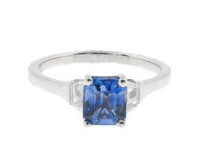 18ct White Gold 1.58ct Sapphire & 0.33ct Diamond Trilogy Ring