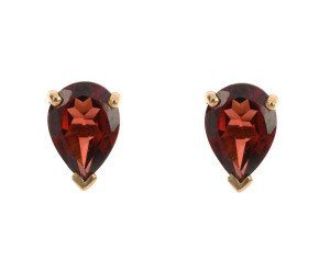 9ct Yellow Gold 1.60ct Pear Garnet Solitaire Stud Earrings