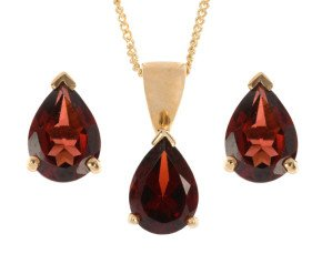 9ct Yellow Gold 2.45ct Pear Garnet Solitaire Pendant & Earrings Jewellery Set