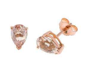 9ct Rose Gold 1.25cts Pear Morganite Solitaire Stud Earrings