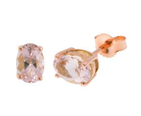 9ct Rose Gold 1.47ct Round Morganite Solitaire Stud Earrings