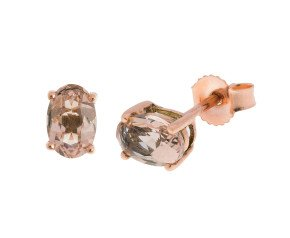 9ct Rose Gold 0.90ct Oval Morganite Solitaire Stud Earrings