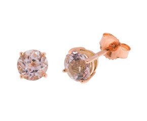 9ct Rose Gold 0.84ct Round Morganite Solitaire Stud Earrings