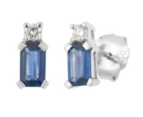 18ct White Gold 0.60ct Sapphire & Diamond Stud Earrings