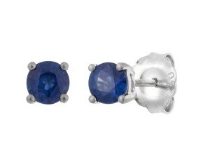 18ct White Gold 0.70ct Round Sapphire Solitaire Stud Earrings