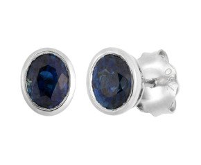 18ct White Gold 0.95ct Oval Sapphire Solitaire Stud Earrings