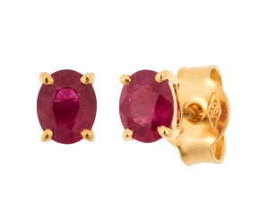 18ct Yellow Gold 0.80ct Oval Ruby Solitaire Stud Earrings