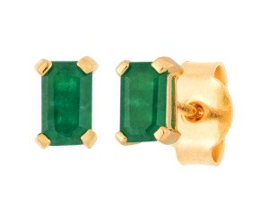 18ct Yellow Gold 5mm Emerald Solitaire Rectangular Shape Stud Earrings