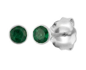 18ct White Gold 0.25ct Round Emerald Solitaire Stud Earrings