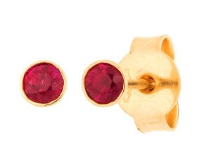 18ct Yellow Gold 0.30ct Round Ruby Solitaire Stud Earrings
