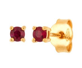 18ct Yellow Gold 0.25ct Round Ruby Solitaire Stud Earrings