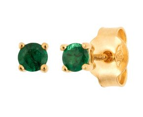 18ct Yellow Gold 3mm Emerald Solitaire Round Shape Stud Earrings
