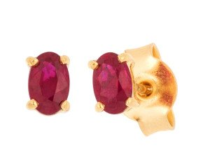 18ct Yellow Gold 0.50ct Oval Ruby Solitaire Stud Earrings
