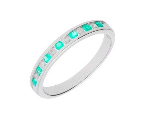 9ct White Gold 0.15ct Emerald & 0.15ct Diamond Half Eternity Ring