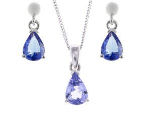 9ct White Gold 2.25ct Tanzanite Solitaire Pendant & Earrings Jewellery Set