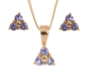 9ct Yellow Gold 0.35ct Tanzanite Trefoil Cluster Earrings & Pendant Jewellery Set