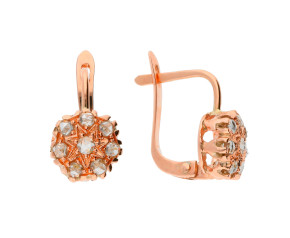 Handcrafted Italian 0.60ct Diamond Floral Cluster Earrings