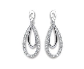 9ct White Gold 0.20ct Diamond Drop Earrings