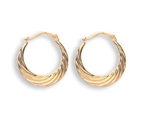 9ct Yellow Gold 18mm Hoop Earrings