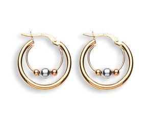 9ct Yellow White & Rose Gold 21mm Fancy Hoop Earrings